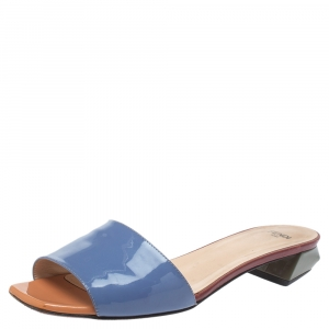 Fendi Blue Patent Leather Open Toe Slide Sandals Size 39.5 - used