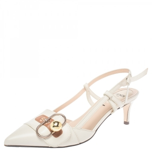Fendi Beige Leather Buckle Strap Slingback Pointed Sandals Size 37