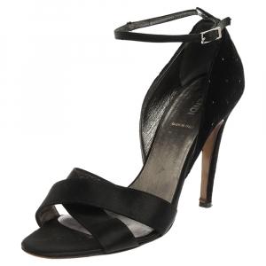 Fendi Black Velvet And Satin Glitter Embellished Criss Cross Ankle Strap Sandals Size 39