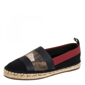 Fendi Black/ Red Mesh, Leather And Canvas Espadrille Flats Size 36