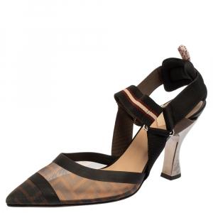 Fendi Multicolor Mesh Colibri Slingback Sandals Size 39