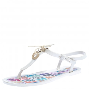 Fendi White Jelly Logo Charm Sunny Thong Flat Sandals Size 38 - used