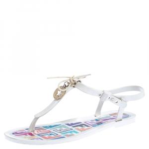 Fendi White Jelly Logo Charm Sunny Thong Flat Sandals Size 38 - used