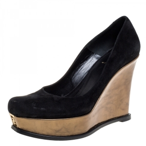 Fendi Black Suede Leather Wedge Platform Pumps Size 40