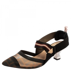 Fendi Black FF Motif Tech Mesh And Leather Trim Colibri Slingback Sandals Size 36