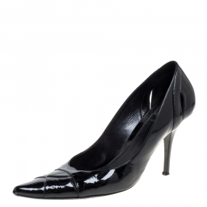 Fendi Black Patent Leather Pointed Toe Pumps Size 38