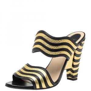 Fendi Gold/Black Striped Wave Leather Sandals Size 39 - used