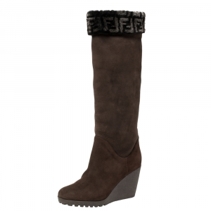 Fendi Brown Suede And Shearling Fur Wedge Knee High Boots Size 39 - used