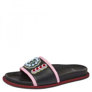 Fendi Multicolor Rubber Logo Print Slide Sandals Size 40