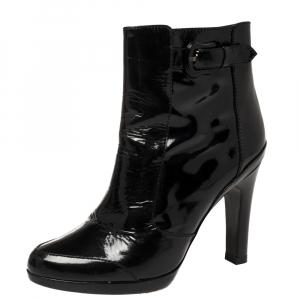 Fendi Black Patent Leather Zip Detail Ankle Boots Size 38