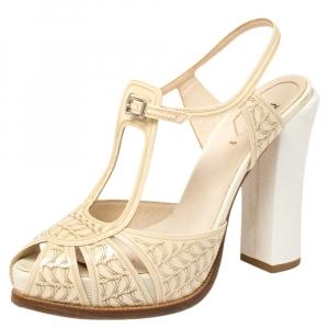 Fendi Cream Patent Leather Ankle Strap Platform Sandals Size 40