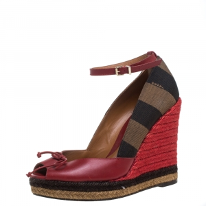 Fendi Red Leather And Striped Canvas Ankle Strap Espadrilles Wedge Pumps Size 37.5