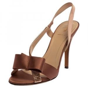 Fendi Brown Satin Crystal Embellished Bow Slingback Sandals Size 37.5 - used