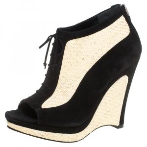 Fendi Black/Beige Suede And Jute Wedge Peep Toe Booties Size 36 - used