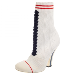 Fendi White Knit Sock Slip on Boots Size 37.5 - used