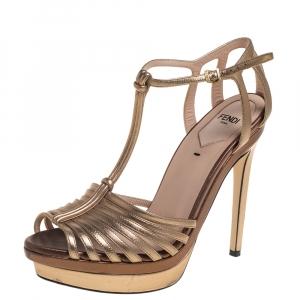 Fendi Metallic Gold Leather platform T strap Sandals Size 37 - used