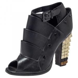 Fendi Black Leather Polifonia Booties Size 36 - used