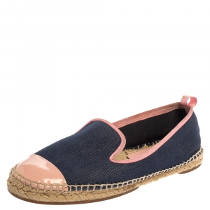 Fendi Navy Blue Denim And Pink Patent Leather Junia Cap Toe Espadrilles Flats Size 40 - used