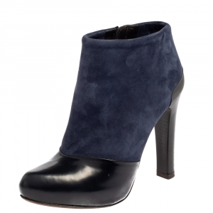 Fendi Navy Blue/Black Suede and Leather Ankle Boots Size 36 - used
