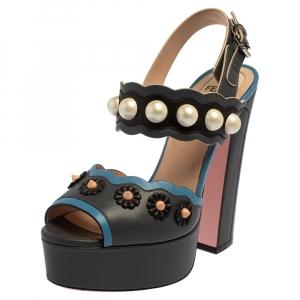 Fendi Grey/Blue Leather Pearl Studded Platform Ankle Strap Sandals Size 36 - used