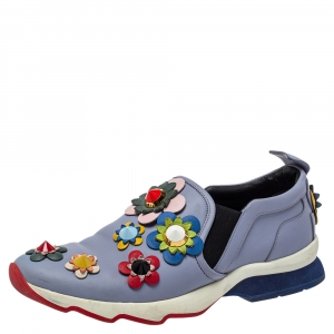Fendi Blue Leather Flowerland Slip On Sneakers Size 40