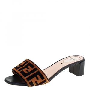 Fendi Brown FF Zucca Velvet Slide Sandals Size 37