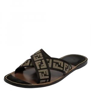 Fendi Black/White Canvas FF Logo Flat Sandals Size 45