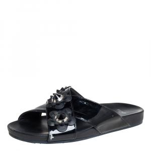 Fendi Black Patent Leather Flowerland Stud Criss Cross Flat Sandals Size 38