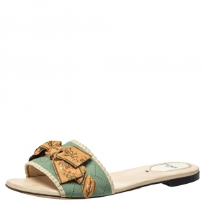 Fendi Green/Beige Embroidered Knit Fabric Bow Embellished Flat Slides Size 38.5