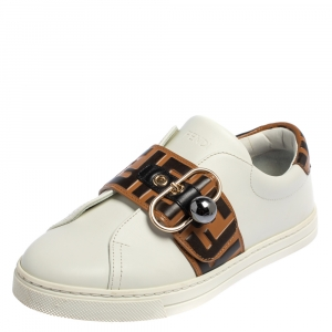 Fendi White/Brown Zucca Leather Pearland Slip On Sneakers Size 36