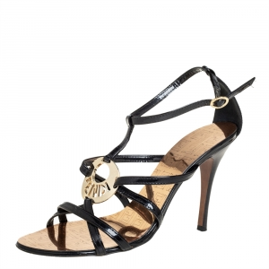 Fendi Black Patent Leather Strappy Ankle Strap Sandals Size 39