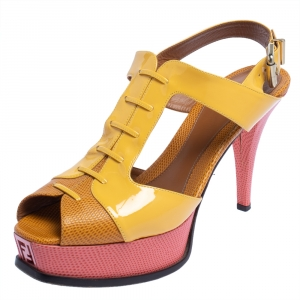 Fendi Yellow Patent Leather And Lizard Embossed Leather Fendista Platform Slingback Sandals Size 40 - used