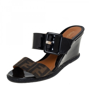 Fendi Brown/Black Zucca Canvas And Patent Wedge Sandals Size 40