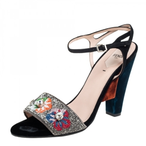 Fendi Multicolor Velvet And Satin Embroidered Ankle Strap Sandals Size 41 - used