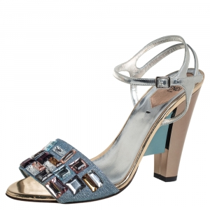 Fendi Blue/Silver Glitter And Patent Leather Fantasia Crystal Embellished Ankle Strap Sandals Size 38