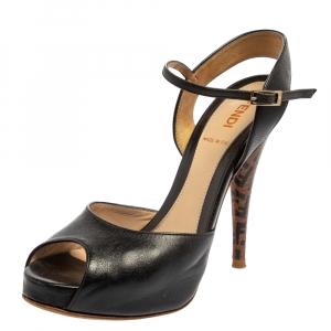 Fendi Black Leather Peep Toe Ankle Strap Platform Sandals Size 35