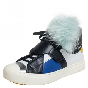 Fendi Multicolor Fur And Suede Karlito Hight Top Sneakers Size 40