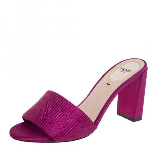 Fendi Pink Satin Logo Embroidered Block Heel Slide Sandals Size 38.5 - used