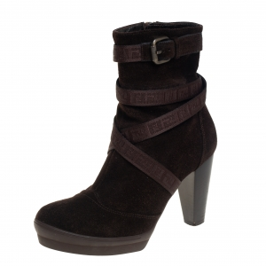 Fendi Brown Suede Strap Detail Platform Ankle Boots Size 37.5 - used