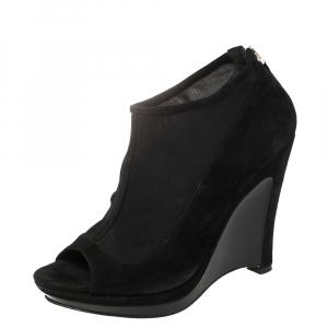 Fendi Black Suede and Fabric Peep Toe Platform Ankle Booties Size 39 - used