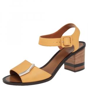 Fendi Yellow Leather Block Heel Ankle Strap Sandals Size 39