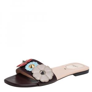 Fendi Brown Leather Embellished Flat Sandals Size 38 - used