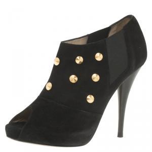 Fendi Black Studded Suede Platform Ankle Boots Size 37.5 - used