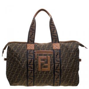 Fendi Brown Zucca Canvas Carryall Weekender Traveling Bag