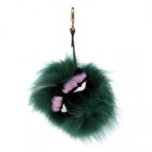 Fendi Green Fur Gold Tone Monster Bug Bag Charm
