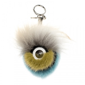 Fendi Multicolor Fur Silver Tone Bug Bag Charm