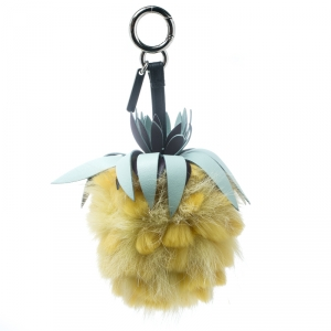 Fendi Yellow Pineapple Fur Pompom and Leather Bag Charm