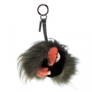 Fendi Green Fur Gold Tone Monster Bug Bag Charm
