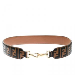 Fendi Brown Zucca Leather Strap You Bag Strap