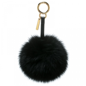 Fendi Black Pompom Fur Leather Gold Tone Bag Charm